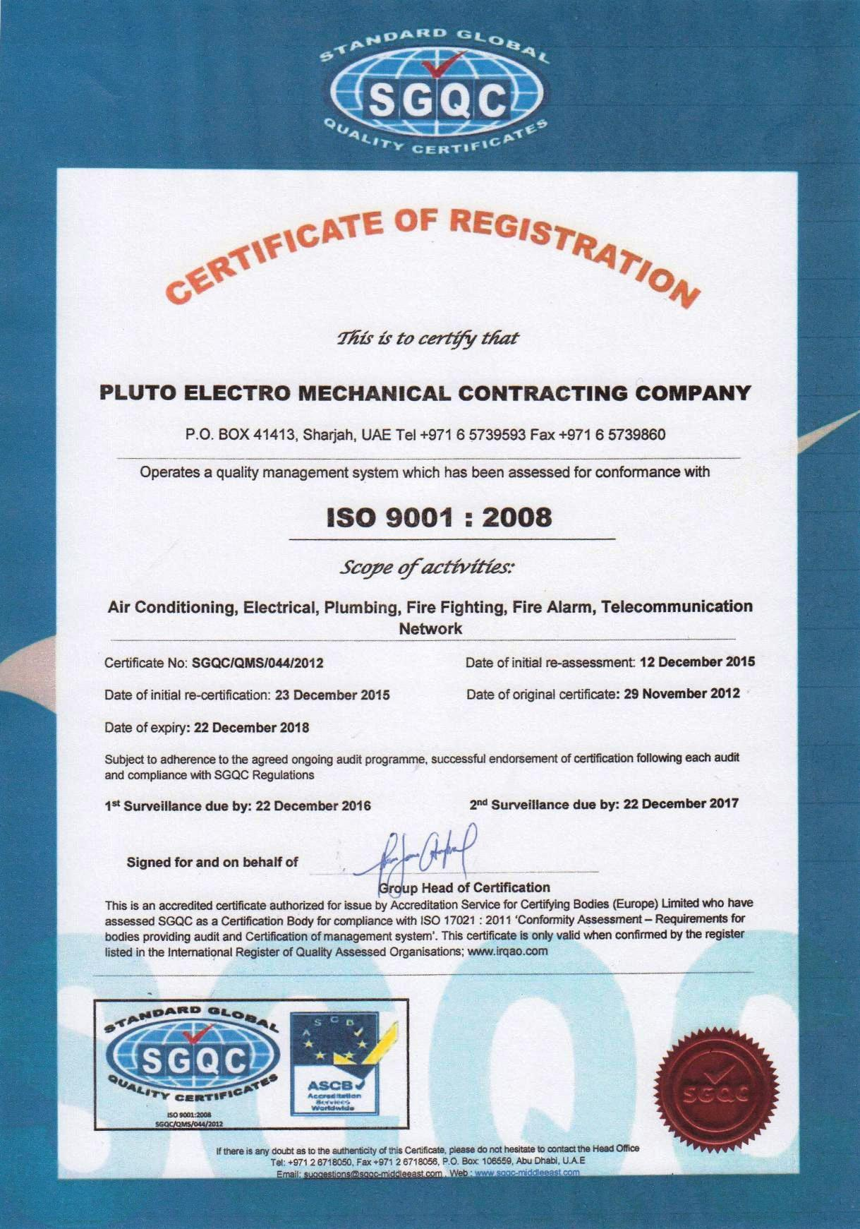 Pluto Electro-Mechanical Contracting Company LLC
